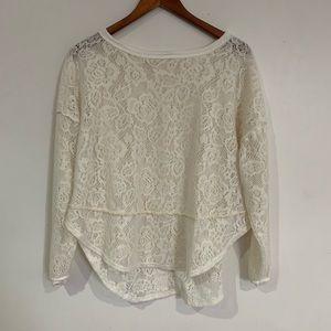 Free People Lace blouse long sleeve  size XXS